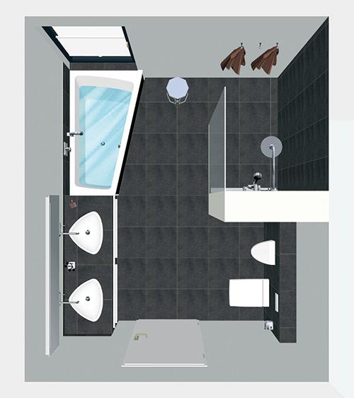 Ein Bad aus der Vogelsperspektive als 3D Anschauung.